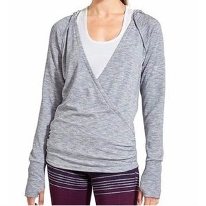Athleta Studio Hoodie Twist Faux Wrap Sweatshirt